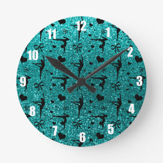 Bright aqua gymnastics glitter pattern round clock