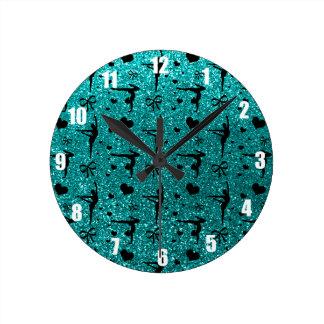 Bright aqua gymnastics glitter pattern wall clock
