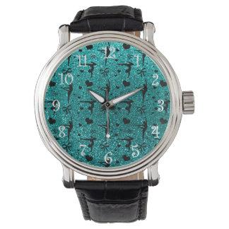 Bright aqua gymnastics glitter pattern watch