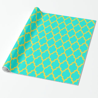 Bright Aqua Pineapple Yellow Moroccan #4 Wrapping Paper