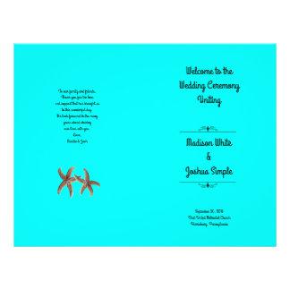 Bright Aqua Starfish Couple Wedding Programs 21.5 Cm X 28 Cm Flyer
