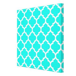Bright Aqua White Moroccan Quatrefoil Pattern 5 Gallery Wrapped Canvas