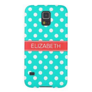 Bright Aqua White Polka Dots #2 Coral Red Monogram Galaxy S5 Case