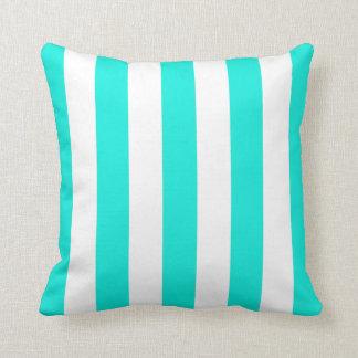 Bright Aqua White XL Stripes Pattern Throw Pillow