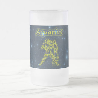 Bright Aquarius Frosted Glass Beer Mug