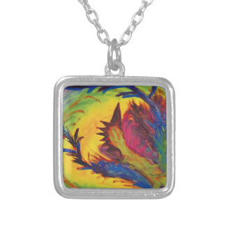 Bright Artistic Abstract Design Silver Plated Necklace