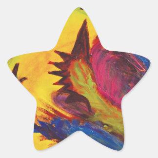 Bright Artistic Abstract Design Star Sticker