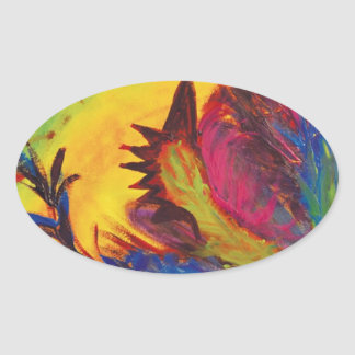 Bright Artistic Abstract Design Oval Sticker