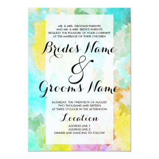 Bright artistic teal watercolor colorful wedding 13 cm x 18 cm invitation card