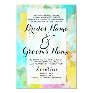 Bright artistic teal watercolor colorful wedding 13 cm x 18 cm invitation card