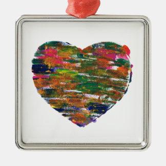 bright arty heart print customise it christmas ornament