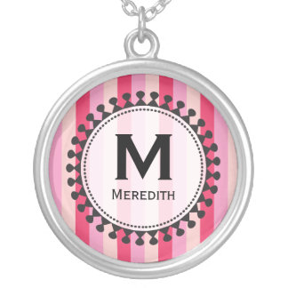 Bright Awnings Pink Monogram Necklace
