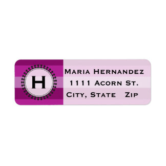 Bright Awnings Purple Monogram Address Labels