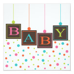 Bright BABY Blocks of Colours Neutral Baby Shower 13 Cm X 13 Cm Square Invitation Card
