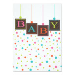 Bright BABY Blocks of Colours Neutral Baby Shower 13 Cm X 18 Cm Invitation Card