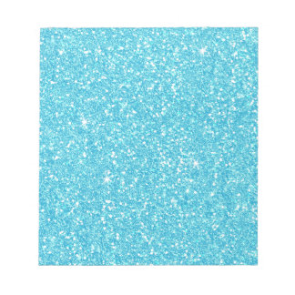 Bright Baby Blue Faux Glitter Notepad