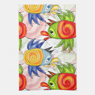 Bright baby parrots doodle design tea towel