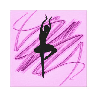 Bright ballerina dancer stretched canvas prints