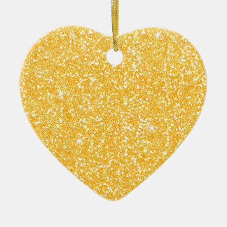 Bright Banana Yellow Faux Glitter Christmas Ornament