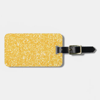 Bright Banana Yellow Faux Glitter Luggage Tag