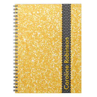 Bright Banana Yellow Faux Glitter Personalized Notebook