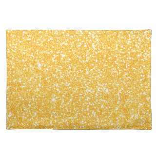 Bright Banana Yellow Faux Glitter Placemat