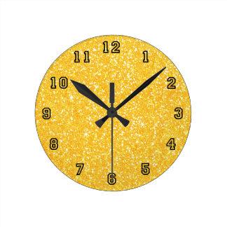 Bright Banana Yellow Faux Glitter Round Clock