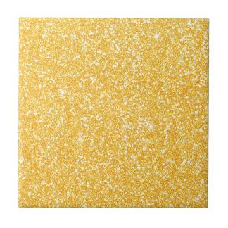 Bright Banana Yellow Faux Glitter Tile