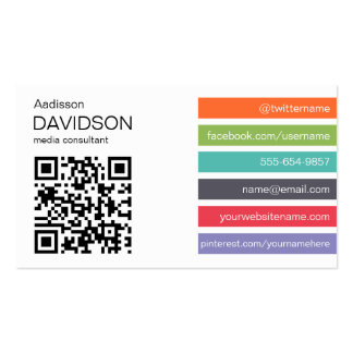 Bright Bar QR CODE Social Media Business Card