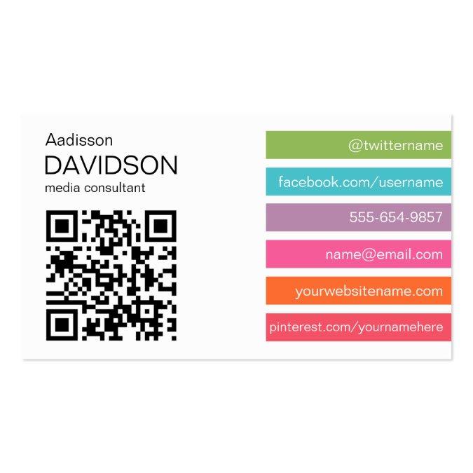 Bright Bars 2 QR CODE Social Media Business Card