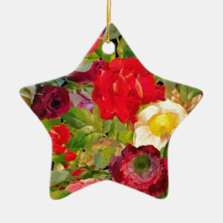 Bright Beautiful Flower Collage Christmas Ornament