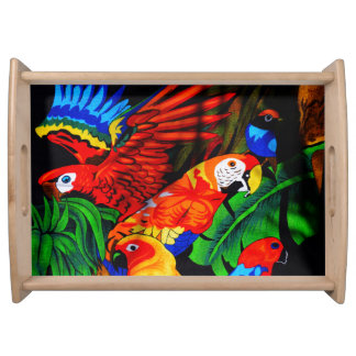 Bright Beautiful Parrots Serving Tray