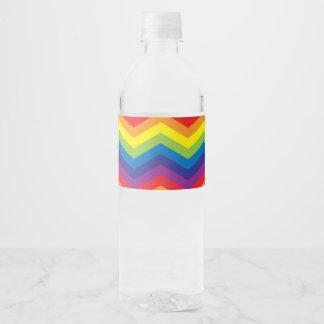 Bright Beautiful Rainbow Colored Zigzag Pattern Water Bottle Label