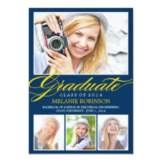 Bright Beginning Graduation Invitation - Navy Blue Personalized Invitations