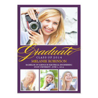 "Bright Beginning Graduation Invitation - Purple 5"" X 7"" Invitation Card"
