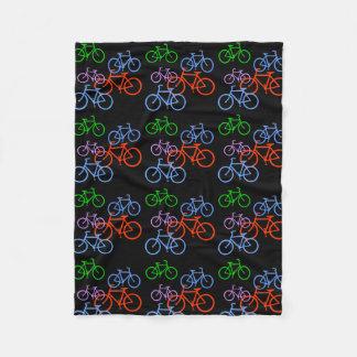 Bright Bicycles Pattern on Black Fleece Blanket