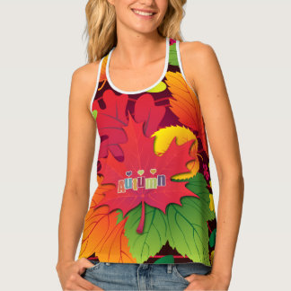 Bright Big Fall Leafy Print for Autumn Tank Top