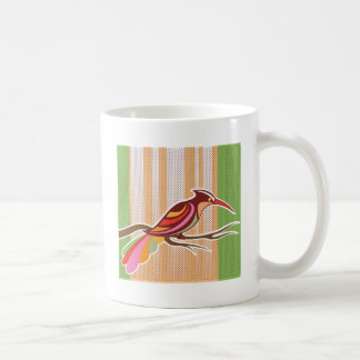 Bright Bird vector illustration with background po Basic White Mug