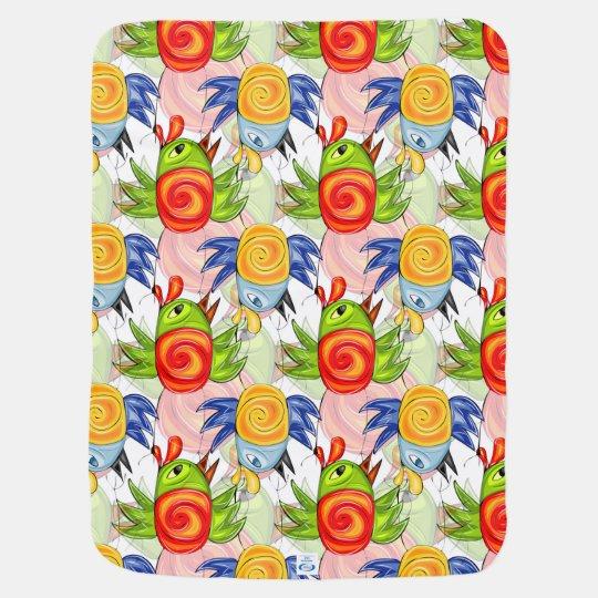 Bright birds doodle design baby blanket