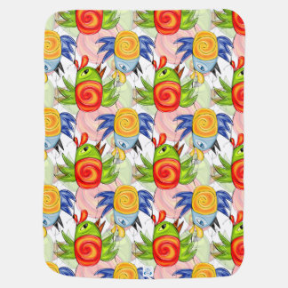 Bright birds doodle design pramblanket