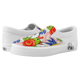 Bright birds doodle design Slip-On shoes