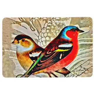 BRIGHT BIRDS IN TREE , Tapestry Collage Floor Mat