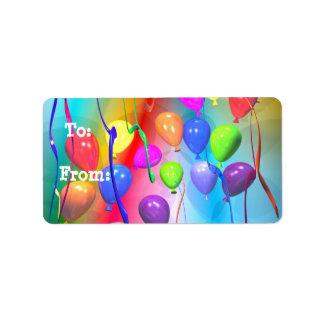 Bright Birthday Balloons Gift Tag