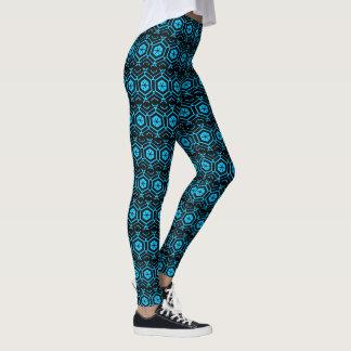 Bright Black and Aqua Blue Geometric Pattern Leggings
