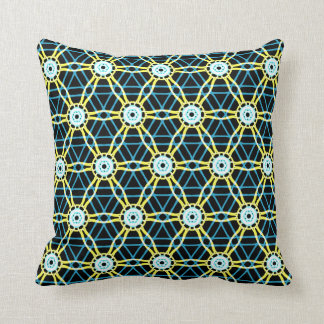 Bright Black and Blue Kaleidoscope Pattern Cushion