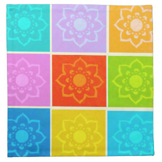 Bright Block Floral Cloth Napkins