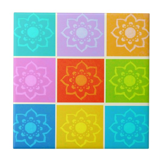 Bright Block Floral Drinks Ceramic Tiles