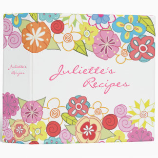 Bright Blossoms Floral Recipe Book Binder