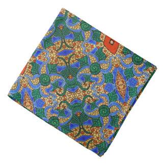 Bright Blue Abstract Floral Pattern Bandana
