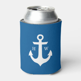 Bright Blue Anchor Monogrammed Can Cooler
